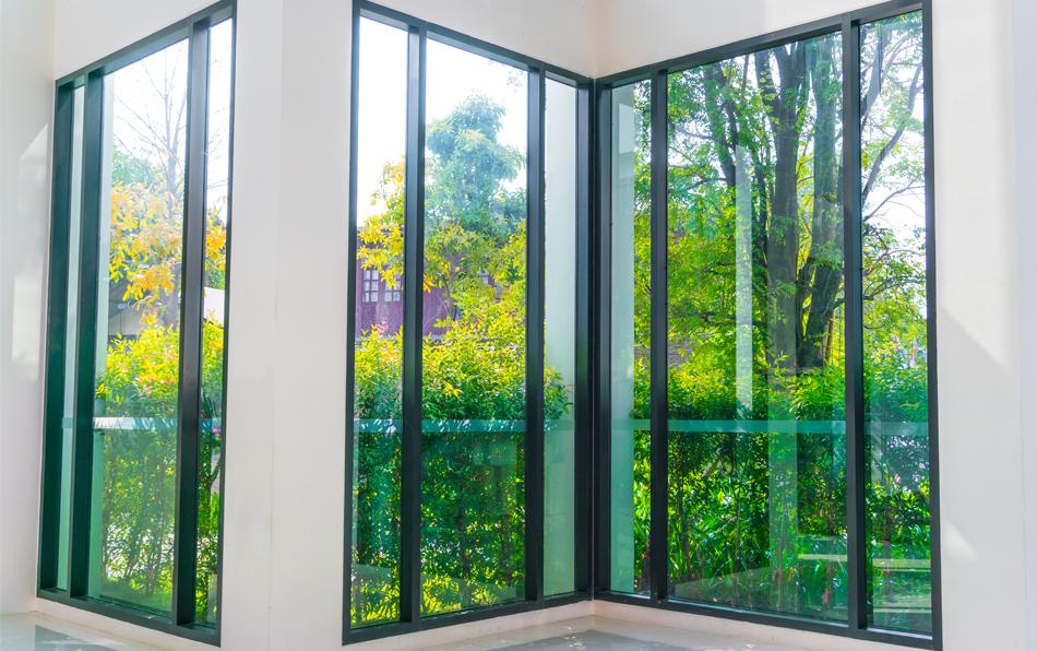 glass windows front garden