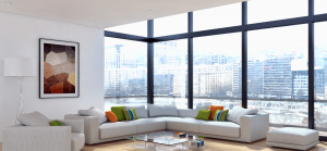 modern room with black impact window front city landscape